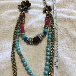 Fossil Necklace with mixed metals & colored beads